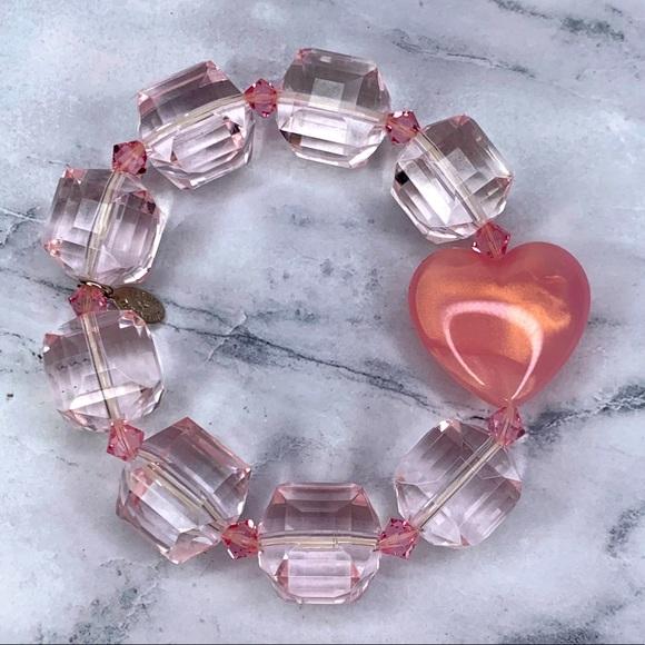 Tarina Tarantino Baby Pink Crystal Heart Bracelet